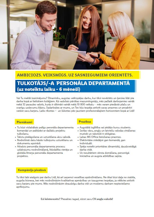 TULKOTĀJS/-A  PERSONĀLA DEPARTAMENTĀ