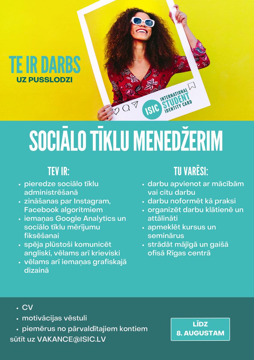 Apmaksāta prakse sociālo tīklu menedžerim