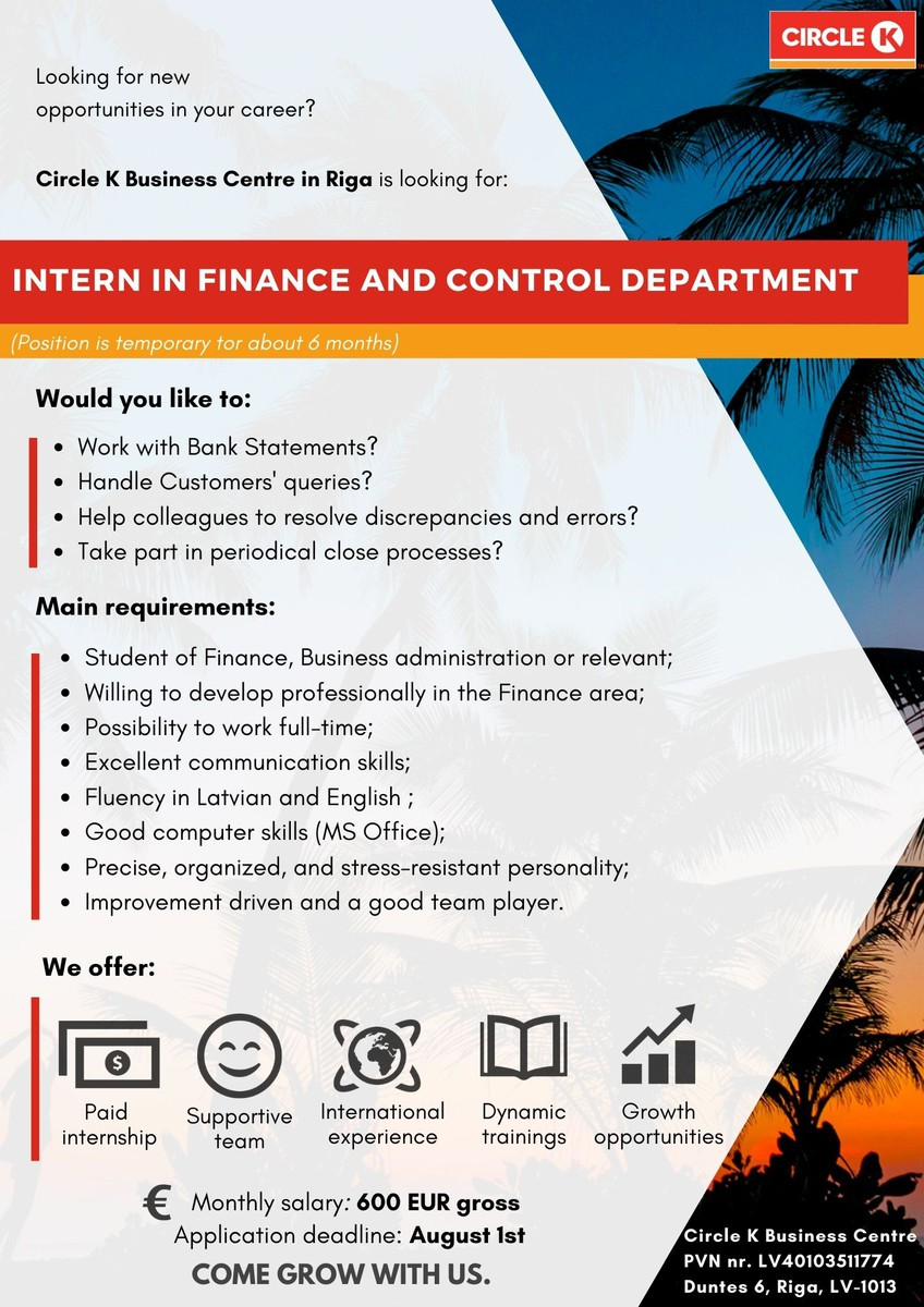 Intern in Finance & Control department