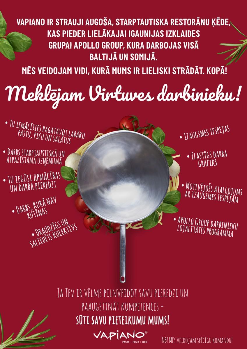 Virtuves darbinieks VAPIANO Origo
