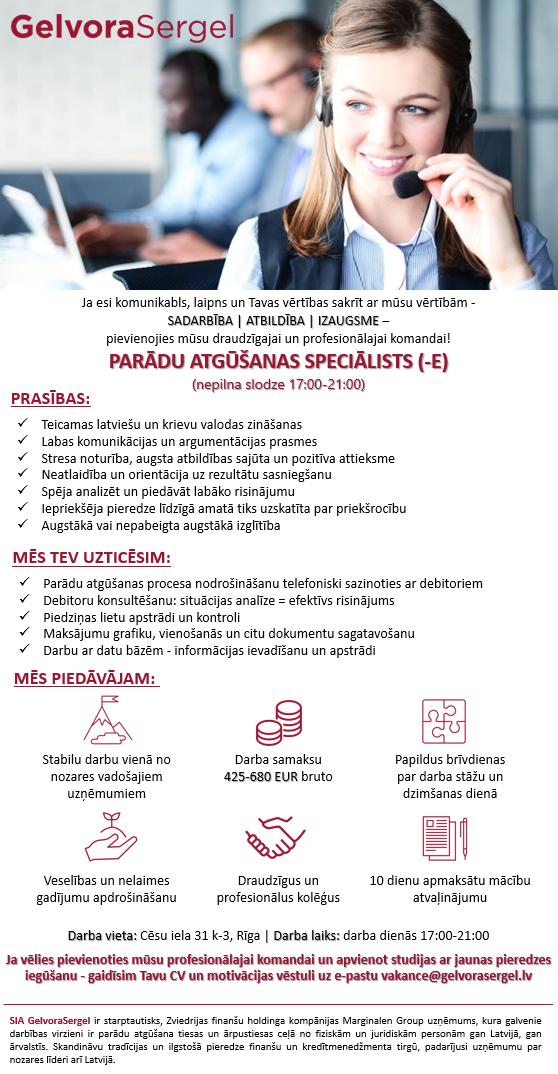 PARĀDU ATGŪŠANAS SPECIĀLISTS (-E) (nepilna slodze 17:00-21:00)