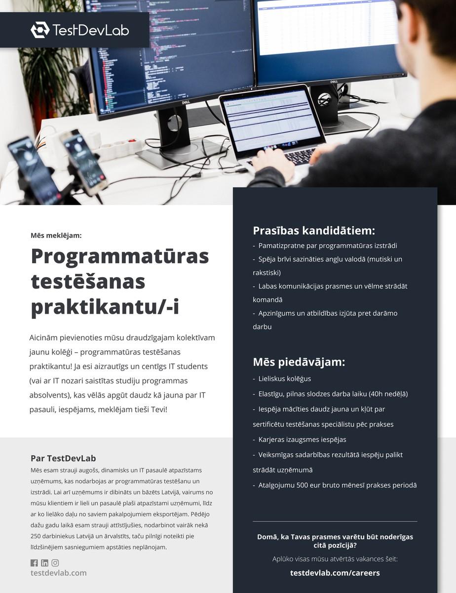 Programmatūras testēšanas praktikants/-e